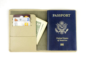 No:07 Personalized Leather Passport Cover-Beige - GalenLeather - 1