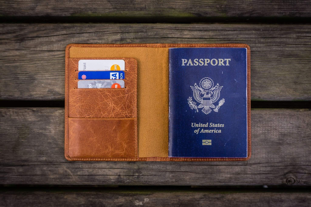 No.07 Personalized Leather Travel Wallet-Rustic Brown - GalenLeather - 1