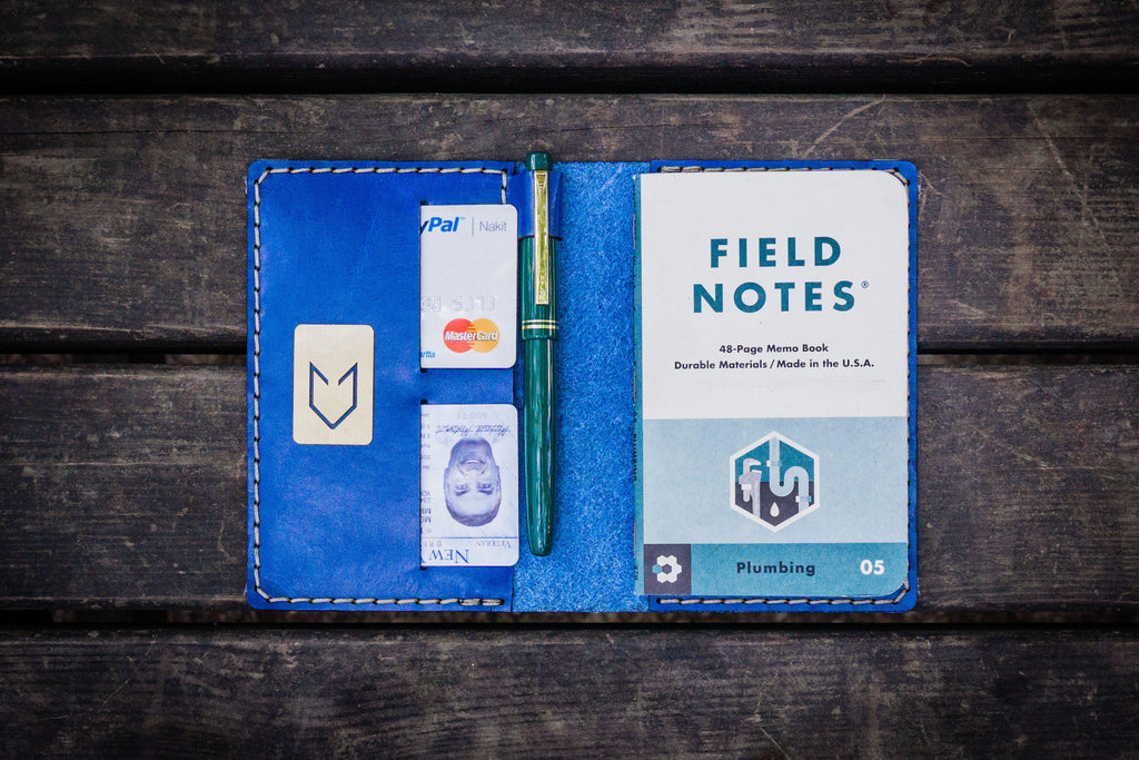 No.33 Personalized Leather Field Notes Cover - Blue-Galen Leather