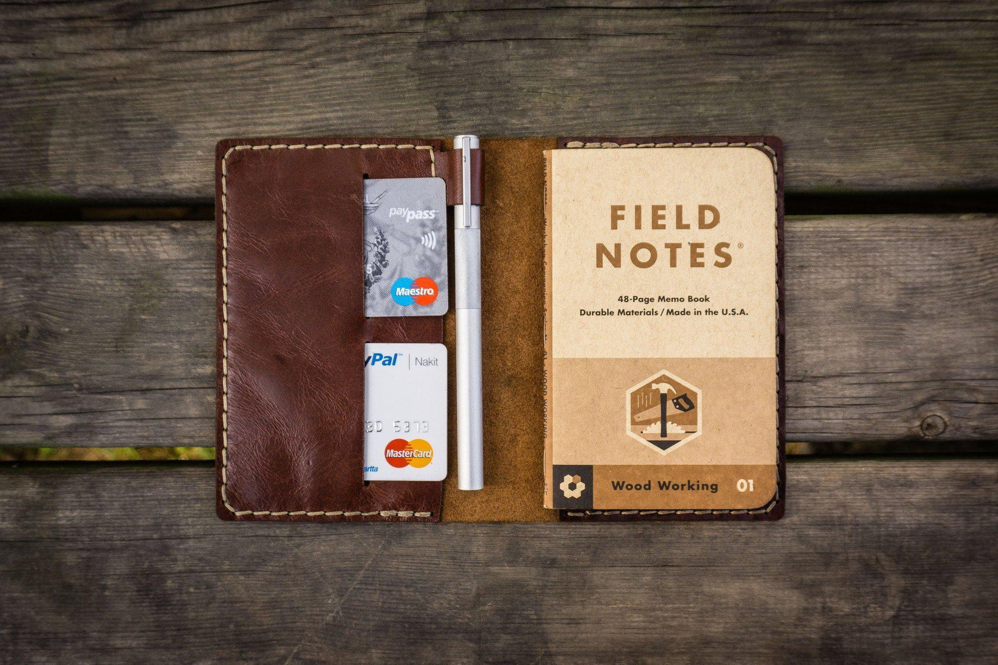 No.33 Personalized Leather Field Notes Cover - Brown - GalenLeather - 1