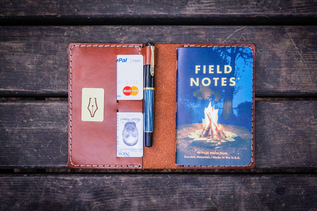 No.33 Personalized Leather Field Notes Cover - Chocolate Brown-Galen Leather