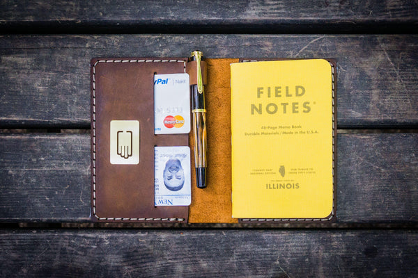 No.33 Personalized Leather Field Notes Cover - Crazy Horse Brown-Galen Leather