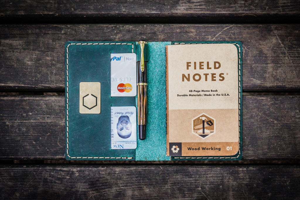 No.33 Personalized Leather Field Notes Cover - Crazy Horse Forest Green-Galen Leather