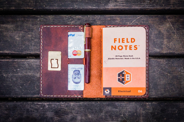 No.33 Personalized Leather Field Notes Cover - Crazy Horse Orange-Galen Leather
