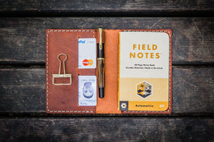 No.33 Personalized Leather Field Notes Cover - Crazy Horse Tan-Galen Leather