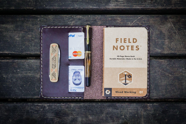 No.33 Personalized Leather Field Notes Cover - Dark Brown-Galen Leather