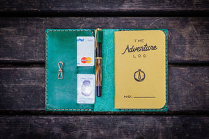 No.33 Personalized Leather Field Notes Cover - Green-Galen Leather