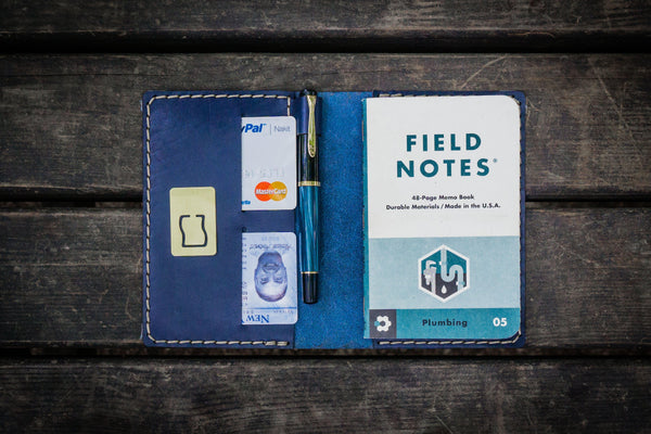 No.33 Personalized Leather Field Notes Cover - Navy Blue-Galen Leather