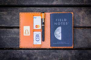 No.33 Personalized Leather Field Notes Cover - Orange-Galen Leather
