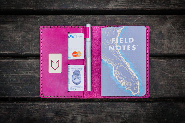 No.33 Personalized Leather Field Notes Cover - Pink-Galen Leather
