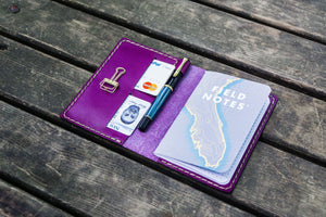 No.33 Personalized Leather Field Notes Cover - Purple-Galen Leather