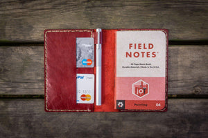 No.33 Personalized Leather Field Notes Cover - Red 1-Galen Leather