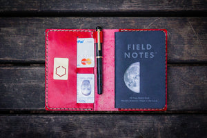 No.33 Personalized Leather Field Notes Cover - Red 2-Galen Leather