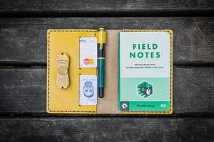 No.33 Personalized Leather Field Notes Cover - Yellow-Galen Leather