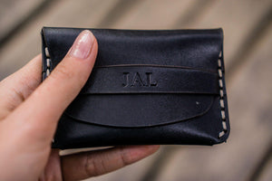 No.36 Personalized Basic Flap Handmade Leather Wallet - Black-Galen Leather