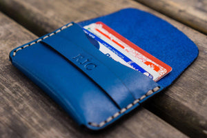 No.36 Personalized Basic Flap Handmade Leather Wallet - Blue-Galen Leather