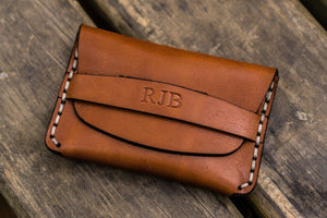 No.36 Personalized Basic Flap Handmade Leather Wallet - Brown-Galen Leather