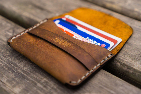 046e9d465ead5 Personalized Basic Leather Wallet Card Holder - Crazy Horse Brown - Galen  Leather