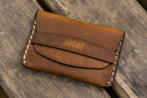 No.36 Personalized Basic Flap Handmade Leather Wallet - Crazy Horse Brown-Galen Leather