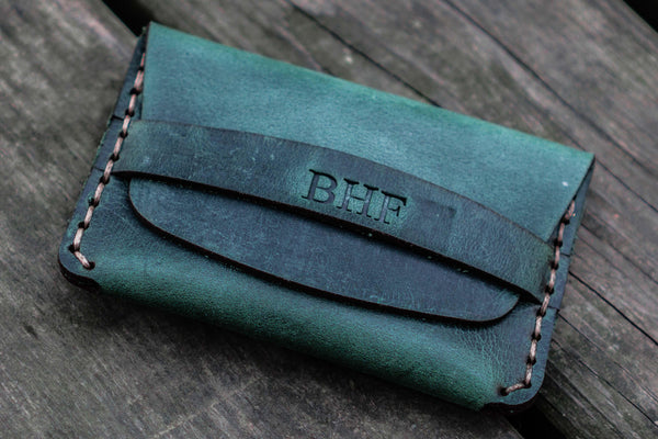 No.36 Personalized Basic Flap Handmade Leather Wallet - Crazy Horse Forest Green-Galen Leather