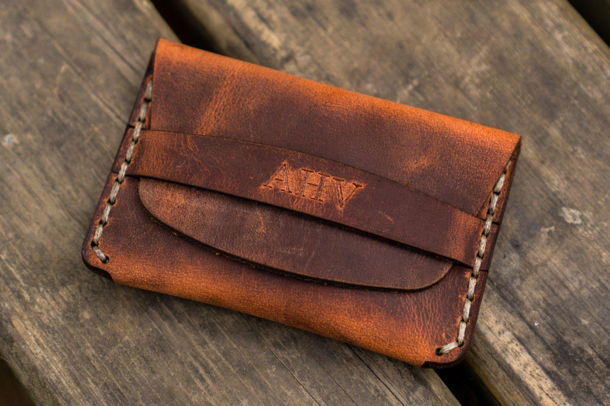 No.36 Personalized Basic Flap Handmade Leather Wallet - Crazy Horse Orange-Galen Leather