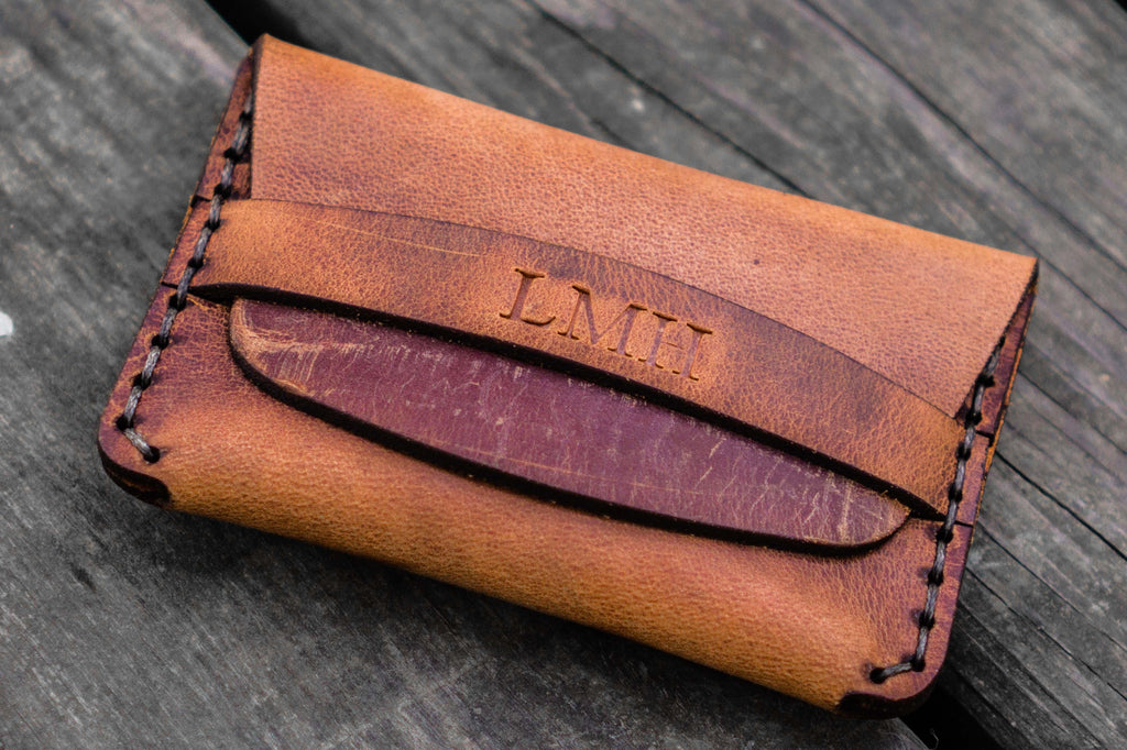 d65431c14bac No.36 Personalized Basic Flap Handmade Leather Wallet - Crazy Horse  Tan-Galen Leather