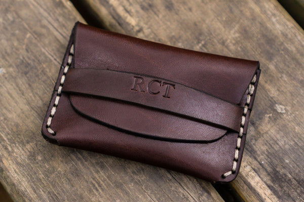 No.36 Personalized Basic Flap Handmade Leather Wallet -Dark Brown-Galen Leather