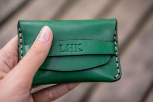 No.36 Personalized Basic Flap Handmade Leather Wallet - Green-Galen Leather