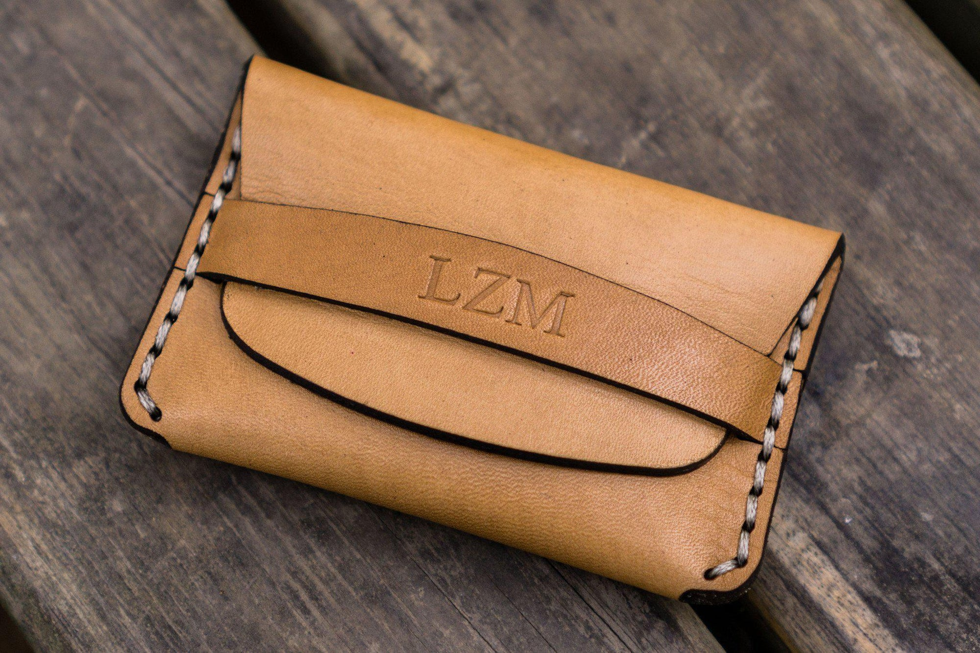 No.36 Personalized Basic Flap Handmade Leather Wallet - Natural-Galen Leather