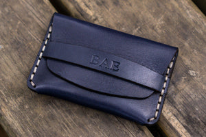 No.36 Personalized Basic Flap Handmade Leather Wallet - Navy Blue-Galen Leather
