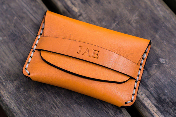 No.36 Personalized Basic Flap Handmade Leather Wallet - Orange-Galen Leather