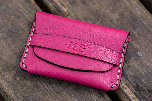 No.36 Personalized Basic Flap Handmade Leather Wallet - Pink-Galen Leather