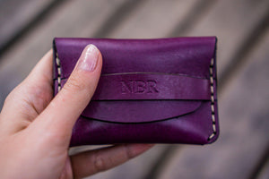 No.36 Personalized Basic Flap Handmade Leather Wallet - Purple-Galen Leather