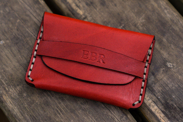 No.36 Personalized Basic Flap Handmade Leather Wallet - Red-Galen Leather