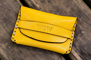 No.36 Personalized Basic Flap Handmade Leather Wallet - Yellow-Galen Leather