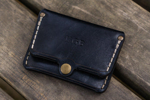 No.38 Personalized Minimalist Hanmade Leather Wallet - Black-Galen Leather