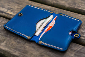 No.38 Personalized Minimalist Hanmade Leather Wallet - Blue-Galen Leather