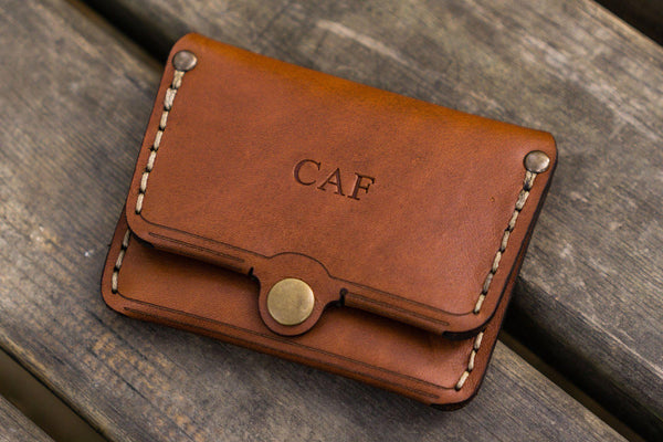 No.38 Personalized Minimalist Hanmade Leather Wallet - Brown-Galen Leather