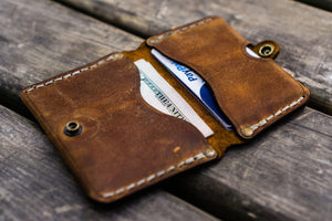 No.38 Personalized Minimalist Hanmade Leather Wallet - Crazy Horse Brown-Galen Leather