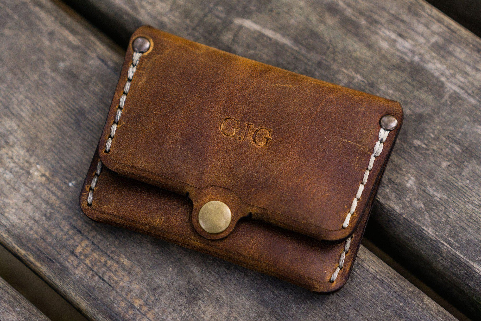 No.38 Personalized Minimalist Hanmade Leather Wallet -Crazy Horse Brown-Galen Leather