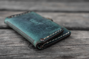 No.38 Personalized Minimalist Hanmade Leather Wallet - Crazy Horse Forest Green-Galen Leather