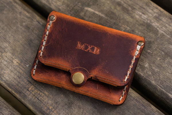 No.38 Personalized Minimalist Hanmade Leather Wallet - Crazy Horse Orange-Galen Leather