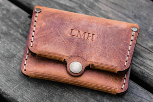 No.38 Personalized Minimalist Hanmade Leather Wallet - Crazy Horse Tan-Galen Leather