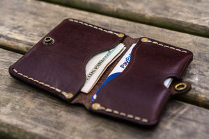 No.38 Personalized Minimalist Hanmade Leather Wallet - Dark Brown-Galen Leather