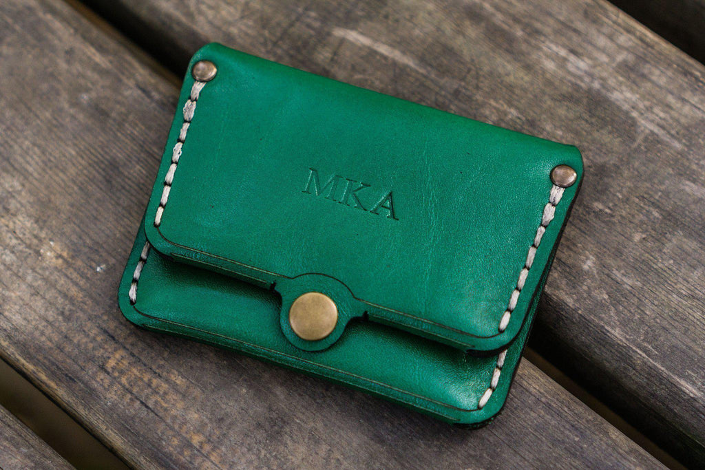 No.38 Personalized Minimalist Hanmade Leather Wallet - Green-Galen Leather
