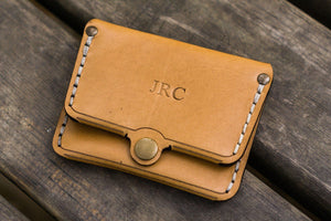 No.38 Personalized Minimalist Hanmade Leather Wallet - Natural-Galen Leather