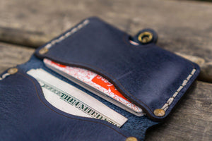 No.38 Personalized Minimalist Hanmade Leather Wallet - Navy Blue-Galen Leather