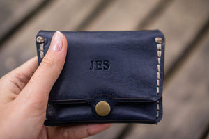 No.38 Personalized Minimalist Hanmade Leather Wallet -Navy Blue-Galen Leather