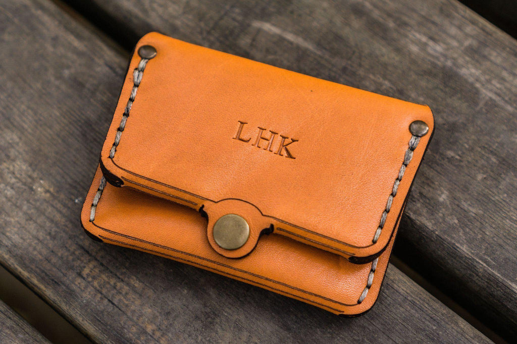 No.38 Personalized Minimalist Hanmade Leather Wallet - Orange-Galen Leather