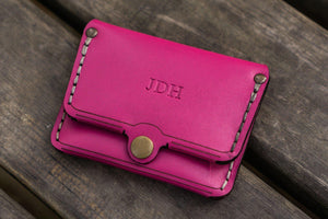 No.38 Personalized Minimalist Hanmade Leather Wallet - Pink-Galen Leather